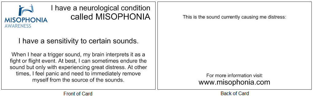 Misophonia Courtesy Card Design Three