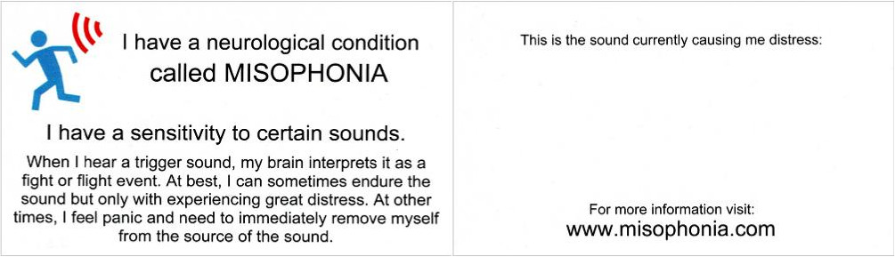 Misophonia Courtesy Card Design Four